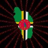 Dominica mapy flaga na czerwonej hex kodu wybuchu ilustraci Zdjęcie Royalty Free