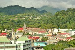 Dominica mountains and homes 11 Stock Photography