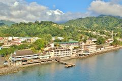 Dominica oceanfront views. View of the beautiful island of Dominica in the Caribbean stock photo