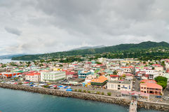 Dominica oceanfront views. Roseau, Dominica - December 4, 2011: Roseau on a cloudy day at December 4, 2011, Dominica stock images