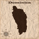 Dominica old map with grunge and crumpled paper. Vector illustration Stock Images