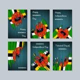 Dominica Patriotic Cards para el día nacional ilustración del vector