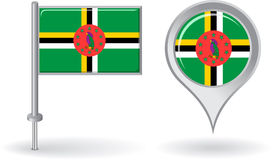 Dominica pin icon and map pointer flag. Vector Stock Images