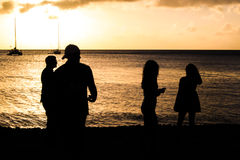 Dominica Sunset Landscape. With Silhouettes stock photography