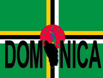 Dominica text with map Royalty Free Stock Image