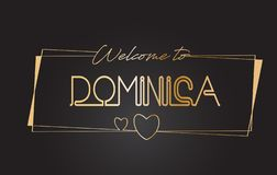 Dominica Welcome à l'illustration de inscription au néon de vecteur de typographie des textes d'or illustration de vecteur