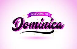 Dominica Welcome à la police manuscrite des textes créatifs avec des couleurs roses pourpres conçoivent illustration libre de droits