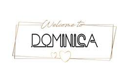 Dominica Welcome pour textoter la typographie de inscription au néon Word pour le logotype, insigne, icône, carte postale, logo,  illustration de vecteur