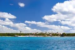 Dominicaanse Republiek, de Cara?bische Zee, de zonnige stranden van Saona-Eiland stock foto