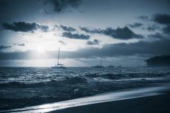 Dominicaanse republiek, het strand van Punta Cana Blauwe toon Stock Foto