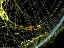 Dominicaanse Republiek op donkere Aarde met netwerk royalty-vrije illustratie