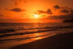 Dominicaanse republiek, Punta Cana, rode zonsopgang Royalty-vrije Stock Afbeeldingen