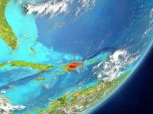 Dominicaanse Republiek van ruimte Stock Fotografie