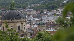 Dominican castle in Lviv at cold day stock video