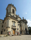Dominican cathedral in Lviv 3. Facade of Dominican Cathedral in Lviv Royalty Free Stock Photo