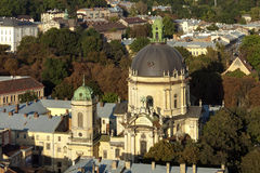 Dominican cathedral in Lviv. Top view of the Dominican Cathedral in Lviv Royalty Free Stock Photography