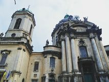 Dominican cathedral and monastery - a cult building in Lviv, one of the most significant monuments of baroque architecture. In the city royalty free stock photo