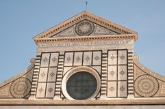 Facade of the western entrance Basilica di Santa Maria Novella by Alberti in Florence Firenze, Tuscany, Toscana, Italy royalty free stock photography