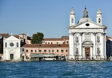 Dominican Churches. This is a Fall picture of two Dominican Churches located along the Giudecca Canal in Venice, Italy. This pictures features the smaller Church stock images