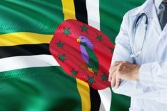 Dominican Doctor standing with stethoscope on Dominica flag background. National healthcare system concept, medical theme.  royalty free stock photo