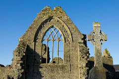 Dominican Friary,windows and stone cross Stock Photography