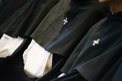 Dominican monks, detail of the monastic habit, monastic order of. The Catholic Church, Rome stock photography