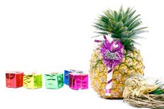 Dominican pineapple and presents Royalty Free Stock Photos