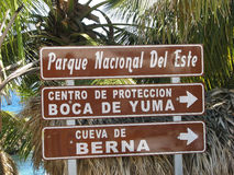 Dominican protected area touirst indication. The Parque Nacional Del Este or National Park of the East is located in eastern Dominican Republic. Founded on Stock Image