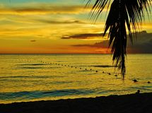 Sunset at Dominican republic Beach, bayahibe, resort. Dominican republic beach bayahibe resort, island of hispaniola vacation in exotic paradise, cloudy sky on stock photography