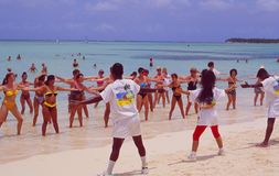 Dominican Republic: Beach-Fitness at Punta Cana Beach royalty free stock image