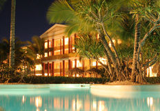 Dominican Republic Caribbean. Dominican republic hotel iberostar at night royalty free stock photo