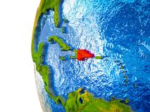 Dominican Republic on 3D Earth. Dominican Republic highlighted on 3D Earth with visible countries and watery oceans. 3D illustration stock illustration