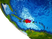 Dominican Republic on 3D Earth. Dominican Republic on model of Earth with country borders and blue oceans with waves. 3D illustration stock illustration