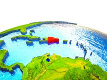Dominican Republic on 3D Earth. With visible countries and blue oceans with waves. 3D illustration stock illustration