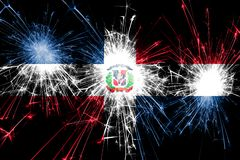 Dominican Republic fireworks sparkling flag. New Year, Christmas and National day concept.  royalty free illustration
