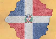 Dominican Republic flag abstract in facade structure big damaged wall. Dominican Republic flag abstract in facade structure big damaged grudge concrete cracked royalty free stock images