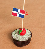 Dominican republic flag on a apple cupcake. Picture of a royalty free stock image