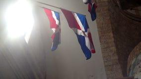 Dominican Republic flag. Closeup shot stock footage
