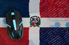Dominican Republic flag and computer mouse. Digital threat, illegal actions on the Internet. Dominican Republic flag and modern backlit computer mouse. The stock illustration