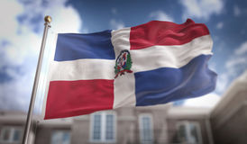 Dominican Republic Flag 3D Rendering on Blue Sky Building Background stock photography