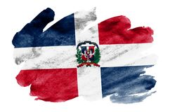 Dominican Republic flag is depicted in liquid watercolor style isolated on white background. Careless paint shading with image of national flag. Independence royalty free illustration
