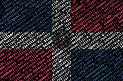 Dominican Republic flag is depicted on the screen with the program code. The concept of modern technology and site development.  stock illustration