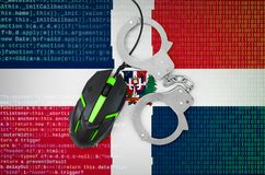 Dominican Republic flag and handcuffed computer mouse. Combating computer crime, hackers and piracy. Dominican Republic flag and handcuffed modern backlit stock illustration