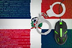 Dominican Republic flag and handcuffed computer mouse. Combating computer crime, hackers and piracy. Dominican Republic flag and handcuffed modern backlit vector illustration