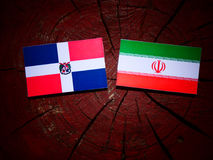 Dominican Republic flag with Iranian flag on a tree stump isolat. Ed Stock Image