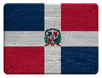 Dominican Republic flag. Painted on wooden tag royalty free stock photography