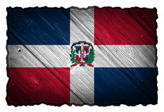 Dominican Republic flag. Painted on wooden tag stock images