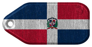 Dominican Republic flag. Painted on wooden tag stock photography