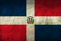 Dominican Republic Flag on Paper. Flag on an old Paper Texture Stock Photography