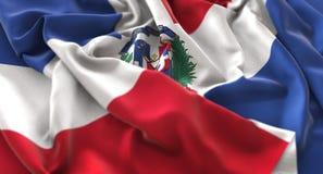 Dominican Republic Flag Ruffled Beautifully Waving Macro Close-Up Shot. Studio royalty free stock photo